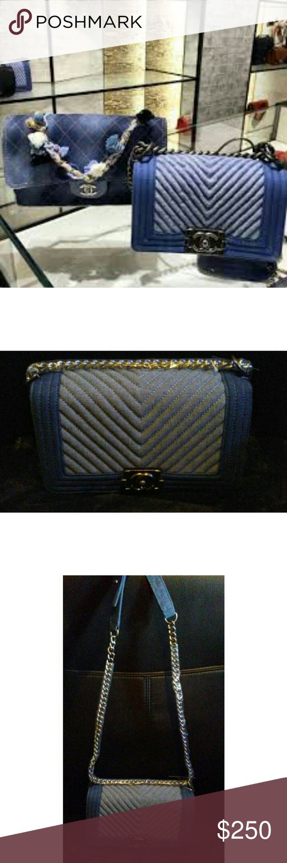 Chanel Denim Boy Bag 🎊1 DAY SALE🎊 Inspired denim handbag. LAST PIC IS FROM MY PREVIOUS POSH I WAS A TOP RATED SELLER.                                                          Cute with a top, denim skinny jeans, dress, skirt, shoes, heels, forever 21, steve madden, free people, aldo, bcbg, love & lemons, guess, mossimo, shoe dazzle, just fab, zara, misguided Bags Shoulder Bags