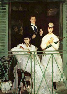 Édouard Manet, Le Balcon, 1868-1869, olio su tela, 170 cm × 124 cm, Musée d'Orsay, Parigi La vivacità dei colori, il verde delle persiane e della ringhiera e la cravatta blu del personaggio maschile, così come il violento contrasto tra gli abiti bianchi delle donne e la penombra dello sfondo, hanno l'effetto di una provocazione. Perfino la gerarchia tra le figure e gli oggetti non è rispettata: i fiori sono rifiniti meglio dei visi.