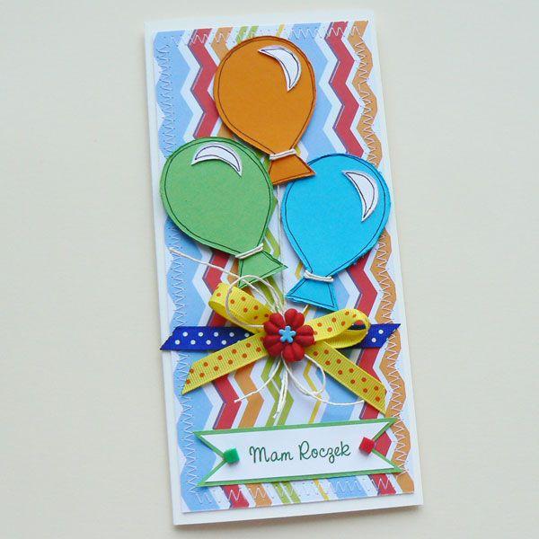 baloniki,życzenia,urodziny,roczek,kolorowe, - Kartki okolicznościowe - Akcesoria w AleŁadne