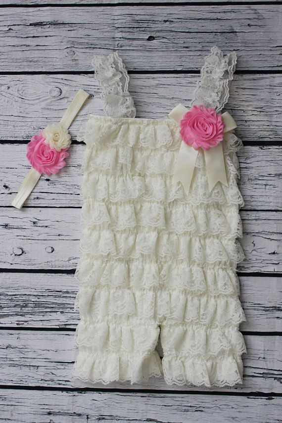 Lace Romper Girls and Headband Set Ivory and Pink Spring Baby