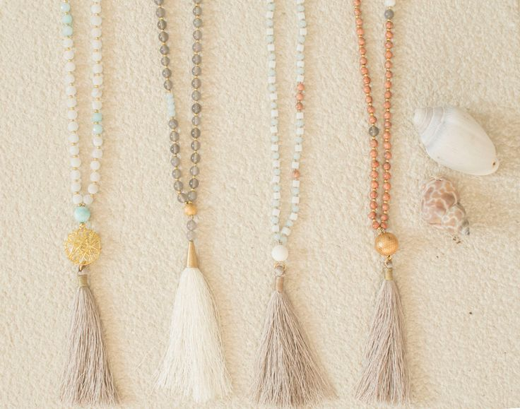 Long Smokey Grey Tassel Necklace -Summer Necklace -Boho Style- Agate Beads-Gemstone beaded Necklace with White Silk Tassel - pinned by pin4etsy.com