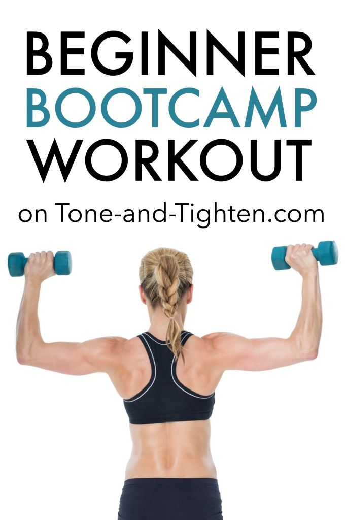 Beginner Bootcamp Workout on Tone-and-Tighten.com - low impact and can be done at home!