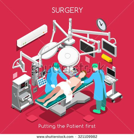 Surgery Department. Medical Doctor Surgeon and Patient Surgery Infographic. Clinic Hospital Plastic Surgery Operating Theater with Surgeon Medical Doctor Staff. 3D Flat People Vector Illustration.