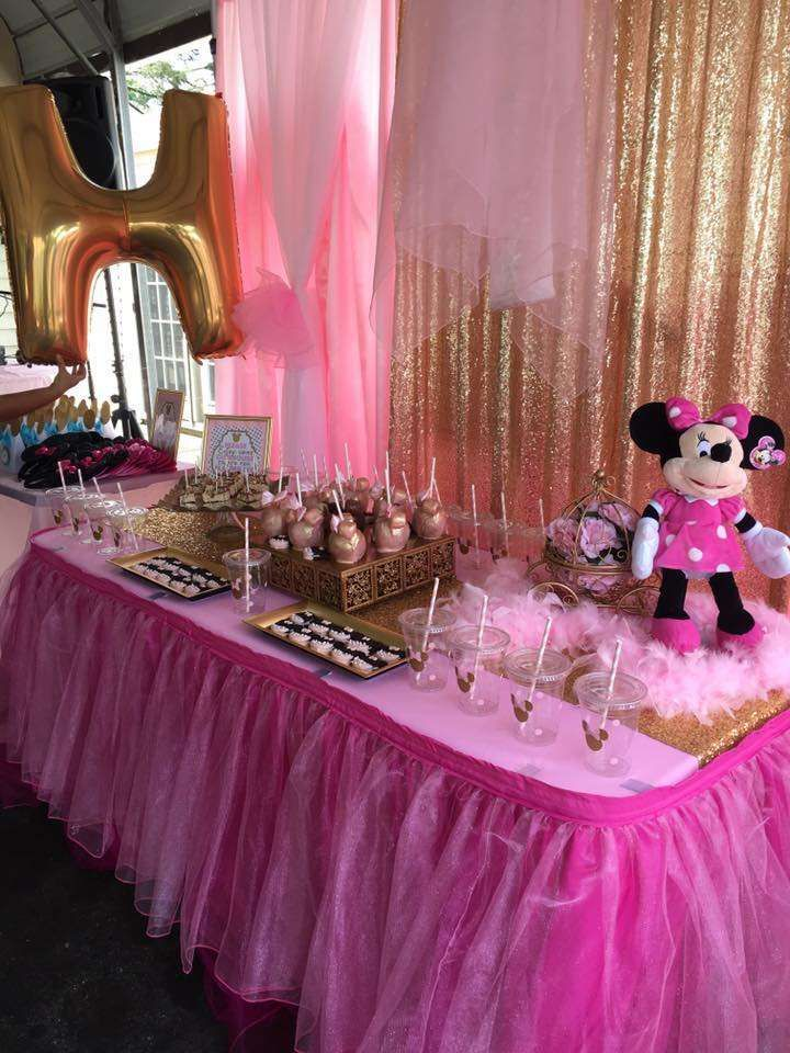 Check out this pink and gold ballerina Minnie Mouse birthday party! See more party ideas at CatchMyParty.com!