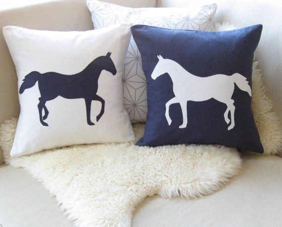 Horse Pillow Cover, Nautical Navy Blue & White, Appliqué Silhouettes, Equestrian Decor, Modern Preppy, 18 x 18
