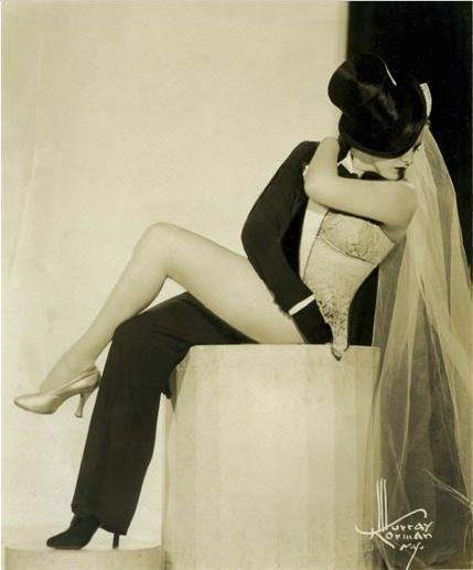 "Golden Age Burlesque Star: The Fabulous Zorita  A publicity still for her infamous gender bending ""Half and Half"" routine.Optical Illusions, Grooms Suits, Gender Bender, Bridal Gowns, Cool Ideas, Odd Couples, Golden Age, Marlene Dietrich, The Brides"
