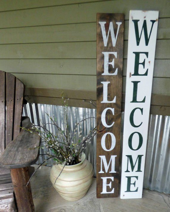 Vertical Welcome Wood And Metal Welcome Front Porch Sign Etsy Small Front Porches Decorating Ideas Front Porch Signs Porch Signs