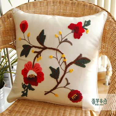 Unique Hibiscus Flower Embroidery Pillow