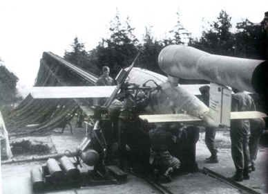V1 flying bomb on its ...