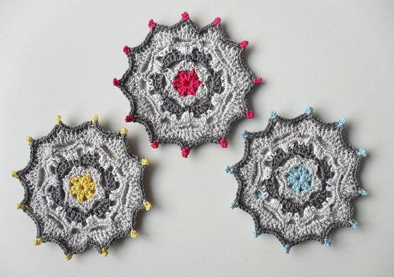 PDF Crochet Pattern Coasters with bright door BlageCrochetDesign