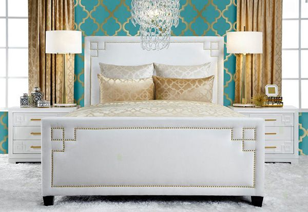 Fashionable Turquoise Bedroom Ideas | Chic With Gold  -  Hints of gold with turquoise in geometric patterns in your bedroom decor give off a chic and modern vibe.