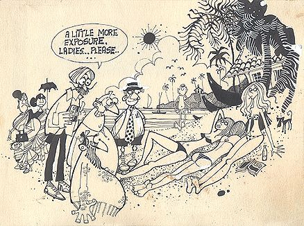 Mario Miranda - A little more exposure, ladies.. please (Original) @ Mario Miranda, Originals | #StoryLTD #collectible