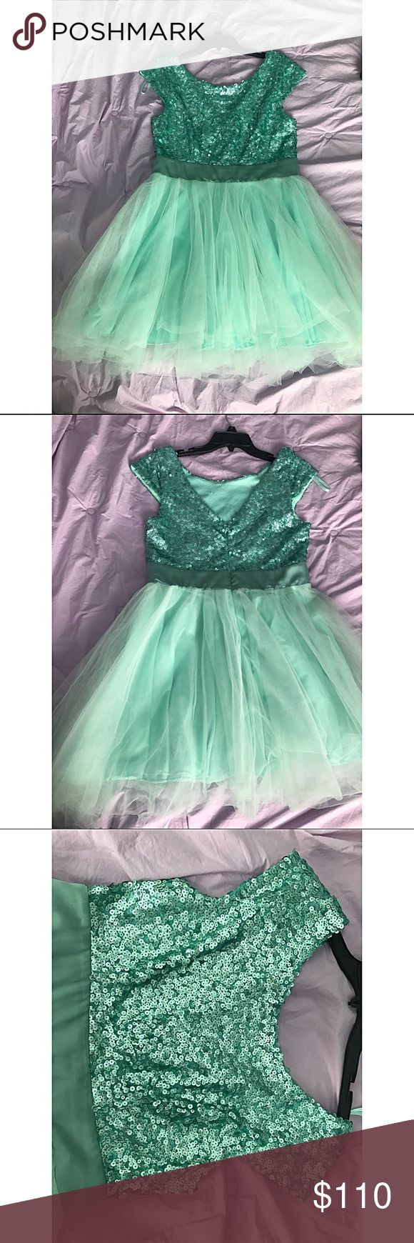 Short Turquoise Prom Dress Mini Prom Dress with sequins on top half. A-line princess scoop neck. Pleated. 33 inches Top to bottom. Dresses Prom