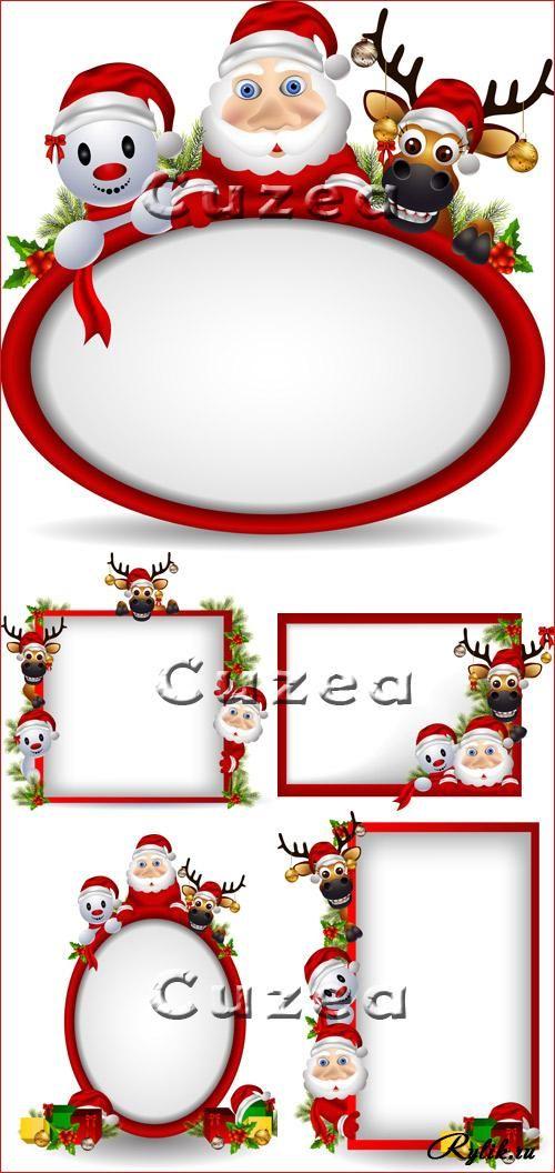 Новогодние рамки с оленями и сантой - векторный клипарт
