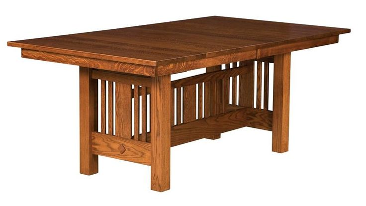 Amish Kingsbury Mission Trestle Table is a traditional mission style table built in solid wood.
