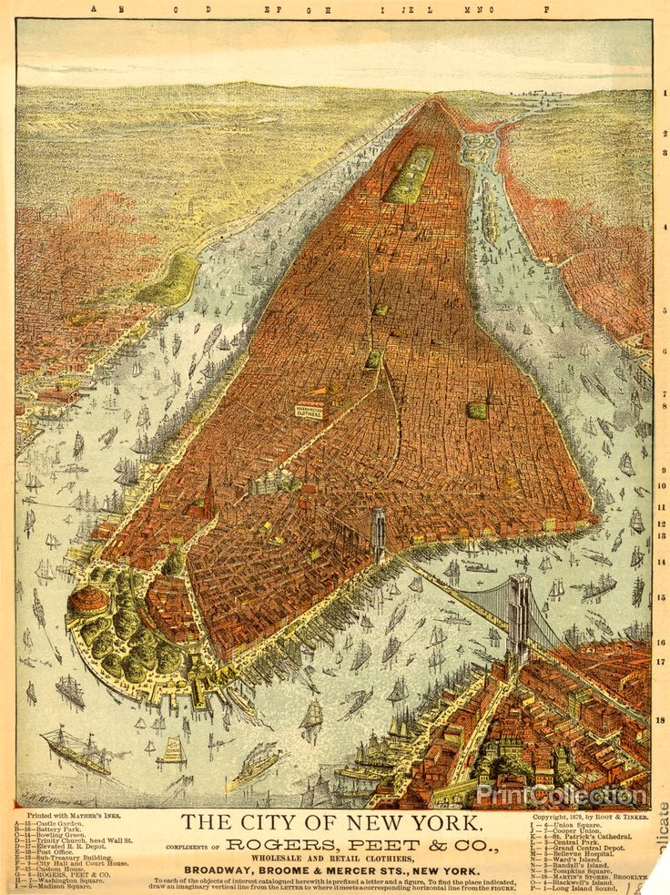 Aerial Map of Manhattan in 1879 559