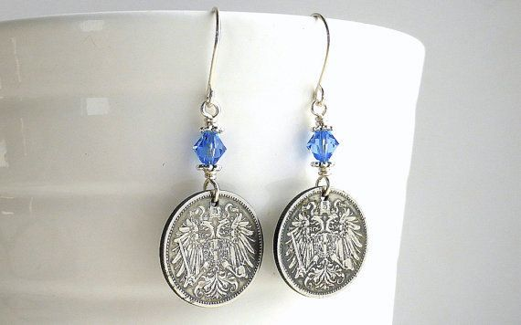 Antique earrings Austrian earrings Coin earrings by CoinStories