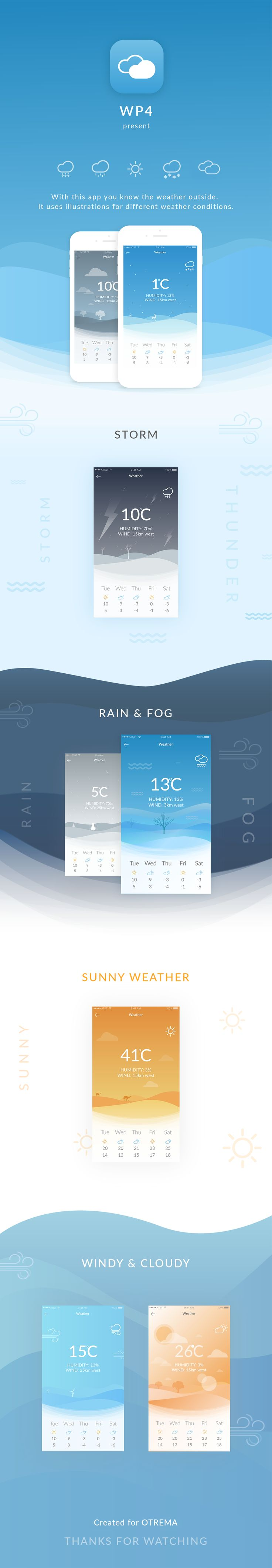 This application is for users who want to check on weather. It displays rainy, foggy, sunny, cloudy, stormy, or windy conditions in illustrations.