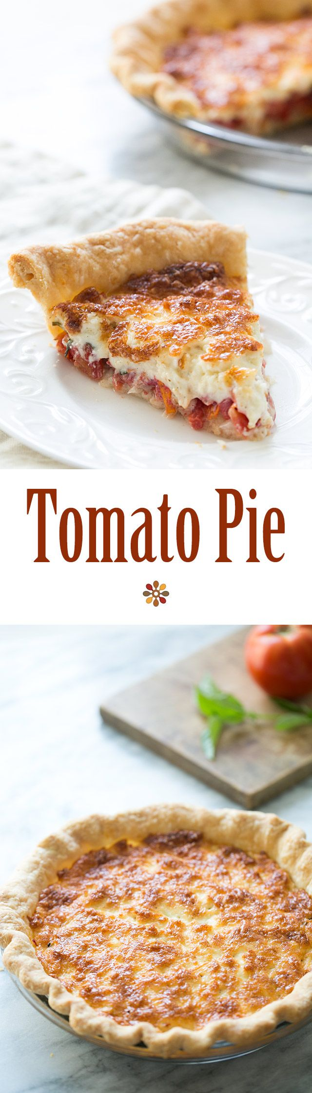 Tomato Pie! Fresh chopped tomatoes, basil and onions, topped with mixture of shredded cheese and mayonnaise, baked in a pie shell. On SimplyRecipes.com
