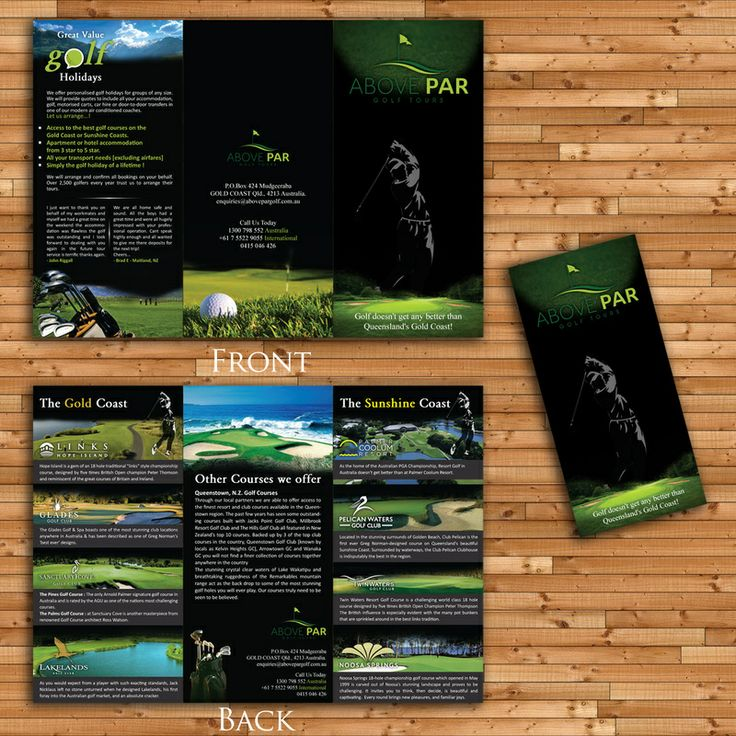 Best Golf Design Images On   Brochure Design