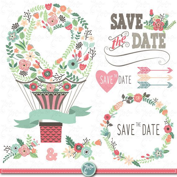 """Wedding Clipart pack """"WEDDING FLORA"""" clip art,Vintage Flowers,Floral Frames,Wreath,Wedding invitation,Hot air balloon,Instant Download Wd052 on Etsy, $5.00"""