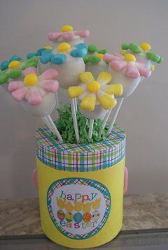 so cute! it says Cake Pop Flowers but I could see this done with marshmallows like @Chasity Hamrick does sometimes