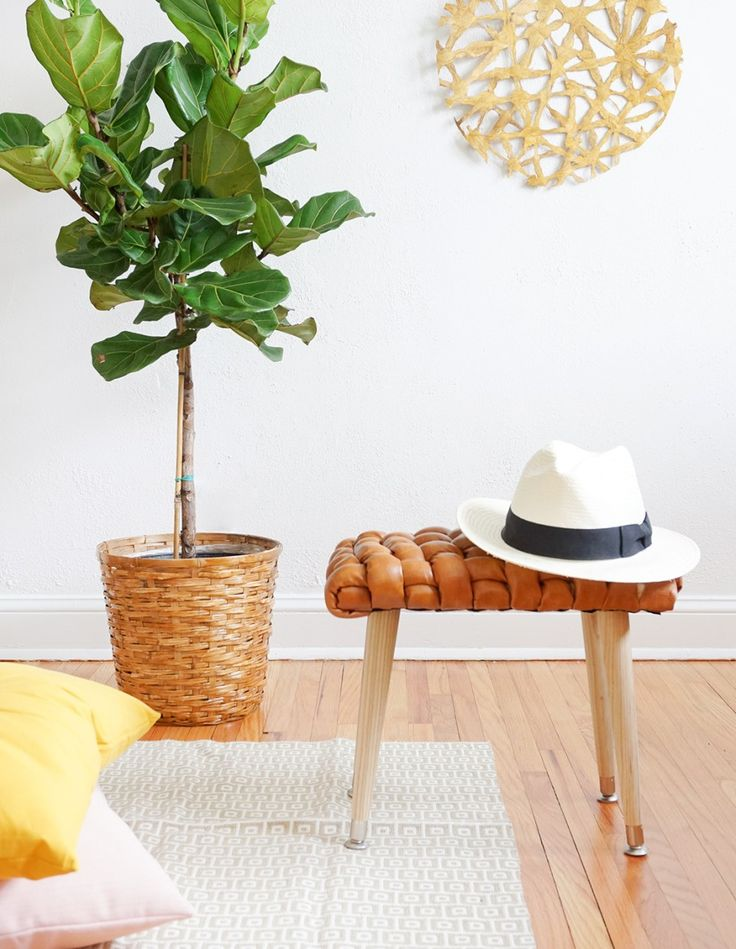 DIY Woven Leather Stool | Sugar & Cloth