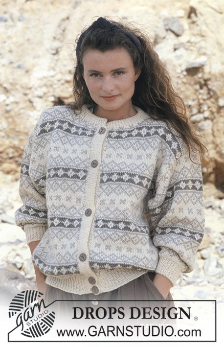 """DROPS jacket with classic pattern borders in """"Karisma Superwash"""". Ladies and men's sizes S – L. - Free pattern by DROPS Design"""