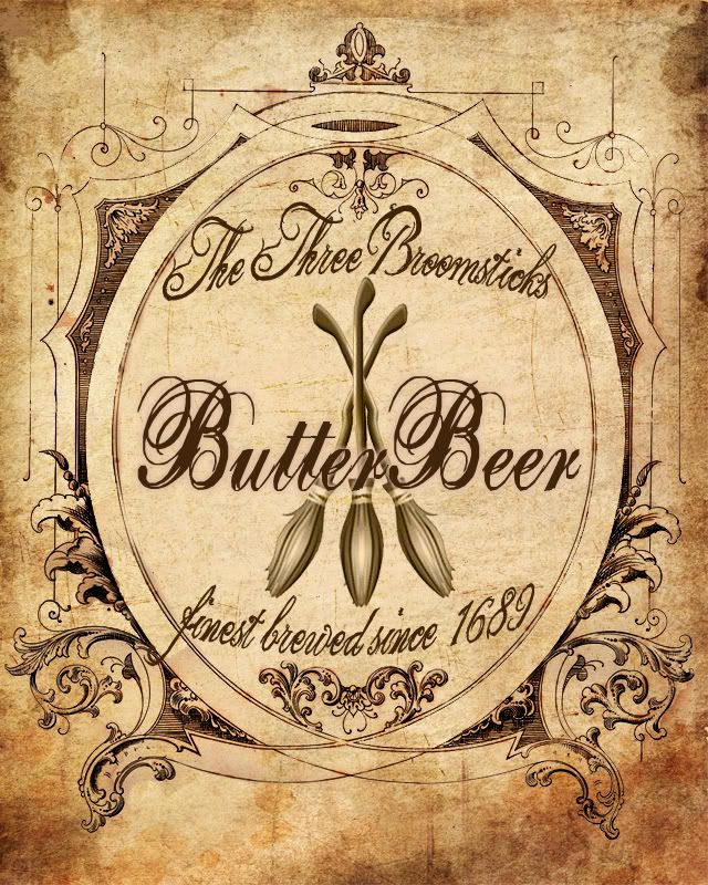 butter beer label  Mix ginger beer + butterscotch schnaps + cream soda. Top with butterscotch schnaps infused whipped cream.