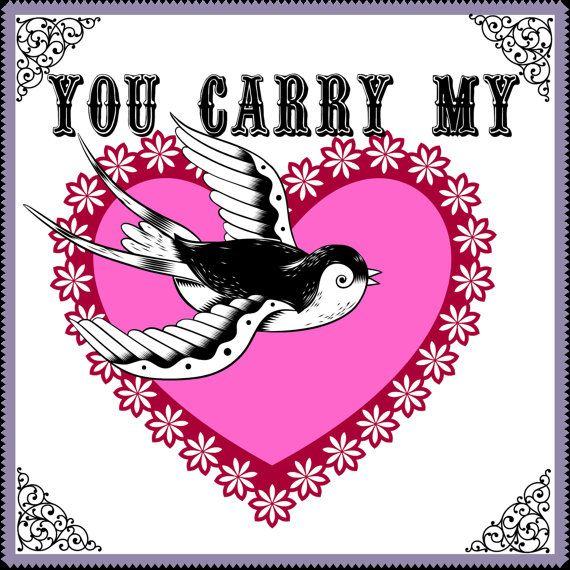 Digital Download  You carry my heart LOVE by bibliopaperartstudio