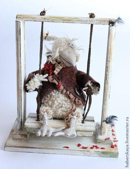 """Ворона белая """"Клара"""" - белый,белая ворона,ворона,качели,авторская ворона"""