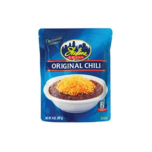 Skyline Chili Microwaveable Pouch:   Nothing like the unique taste of Original Skyline Chili. You dont have to live in Cincinnati area to be able to enjoy it! Now you can have the great taste of Cincinnati Skyline Chili anywhere you live, without even leaving the comfort your house with the convenient microwaveable pouch! Great on hot dogs, in pasta, as a dip or even on its own! Ingredients include: beef, water, tomato paste, yeast, corn starch, spices, salt, onion, garlic, paprika and...