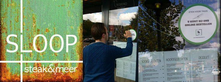 De sticker bij Sloop Steak&Meer Barneveld is geplaatst! Ziet er goed uit! #vers #lokaal #ambachtelijk #onlineetenbestellen