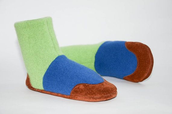 Kids Cashmere Shoes Children Cashmere Slippers Youth by Woolby, $55.00 #recycleparty