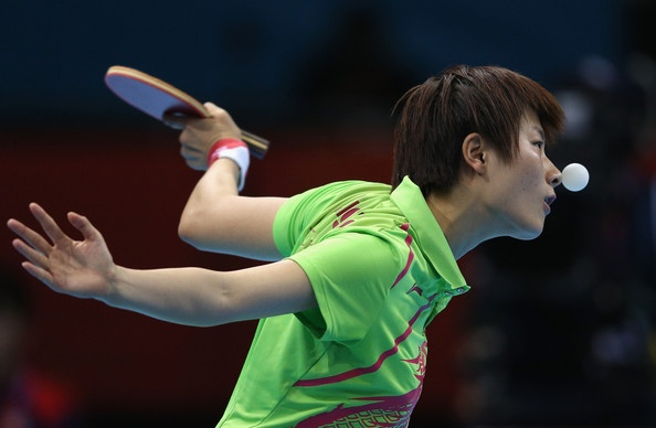 Ning Ding of China competes during her Women's Singles Table Tennis Gold Medal match against Xiaoxia Li of China on Day 5 of the London 2012 Olympic Games at ExCeL on August 1, 2012 in London, England.
