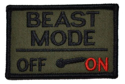 Beast Mode Activated 2x3 Military Patch / Morale Velcro Patch - Olive Drab - http://weirdthingstobuy.net/beast-mode-activated-2x3-military-patch-morale-velcro-patch-olive-drab