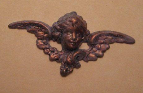 Brass Cherub Head and Wings Patina Finish