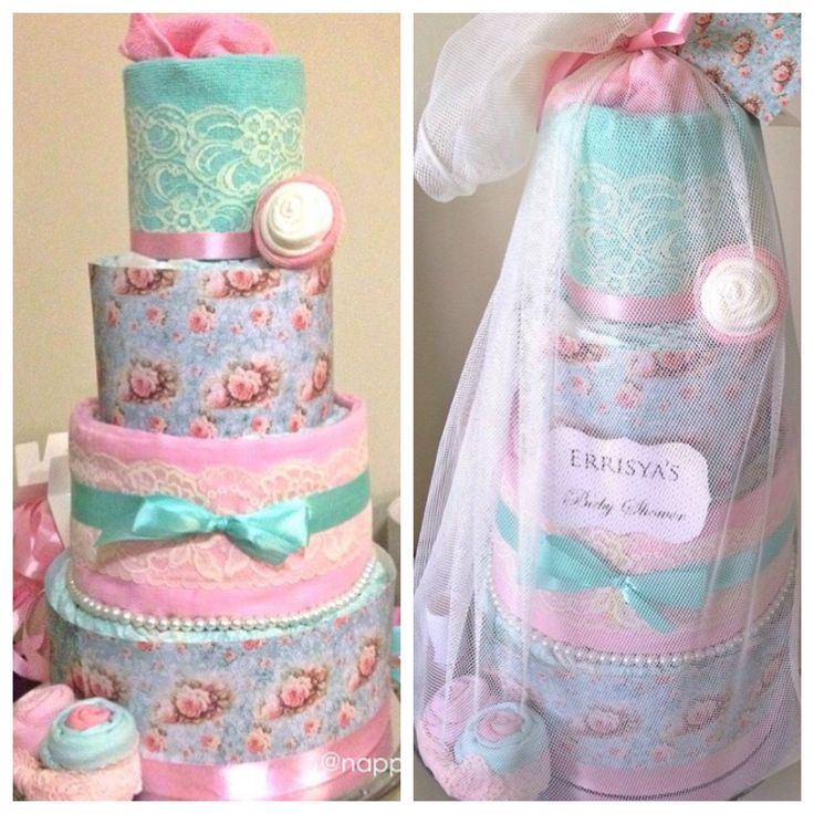 vintage french theme 4 tier nappy cake in pink/mint -  will be great as a baby shower centerpieces