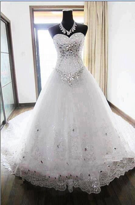 Discount 2018 Luxury Ball Gown Bling Wedding Dresses With Halter ...