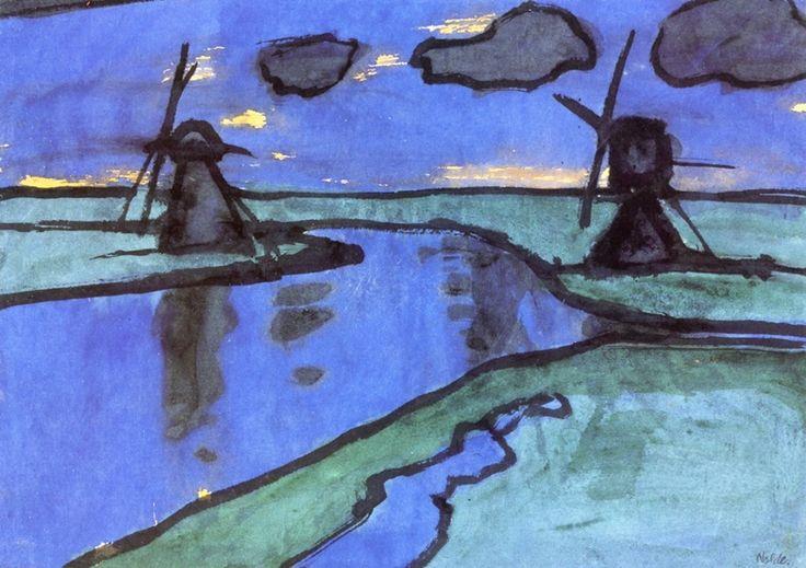 Emil Nolde (1867-1956) Noordduitse-Deense expressionistische kunstenaar, aquarellist en graficus, Emil Nolde wordt, hoewel hij zichzelf niet als expressionist betitelde, met name door zijn zeer evocatief kleurgebruik gezien als een van de eerste Duitse expressionisten. Zijn felle kleurige werk, gekenmerkt door afwijking van de natuurlijke vorm en grote summiere lijnen, is sterk verwant met dat van leden van de groep Die Brücke.