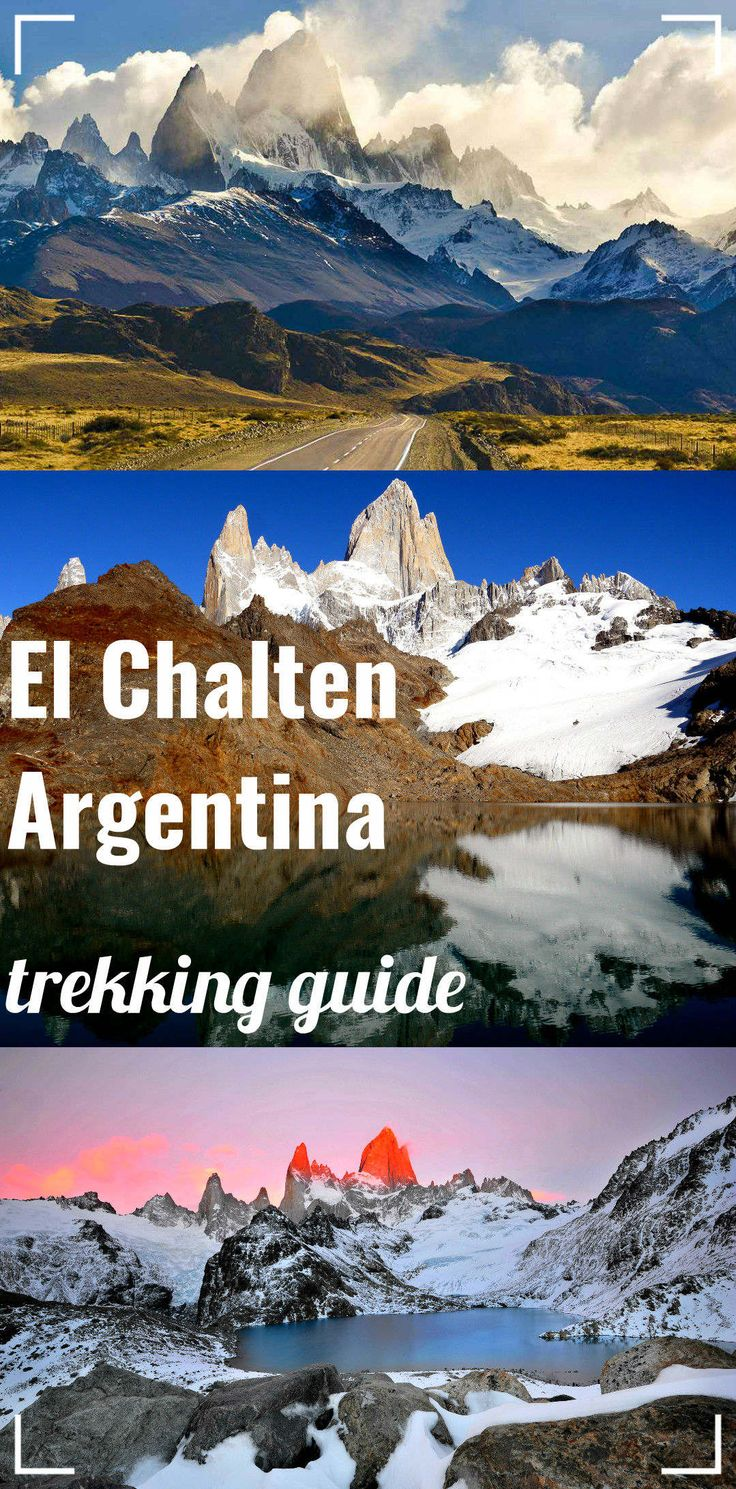 El Chalten, hiking capital of Argentina. Complete guide to htrekking in Los Glaciares National park; map, route, campsites. Fitz Roy mountain, Laguna de Los Tres, glacier Piedras blancas and more.