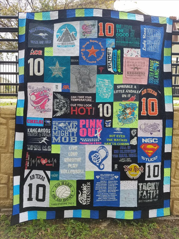 This quilt is packed full of high school memories!!