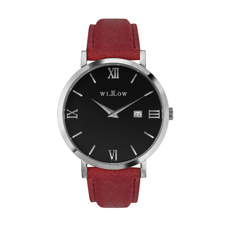 Treviso Silver Watch & Interchangeable Red Leather Strap.