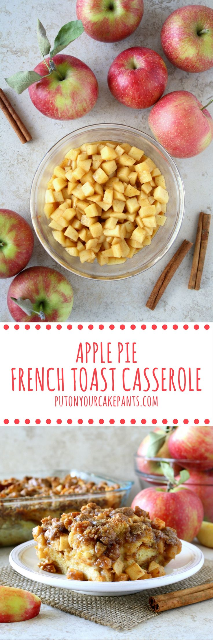 Apple pie French toast casserole makes for an impressive and decadent fall-time brunch. It's a great way to treat your guests if you have company!