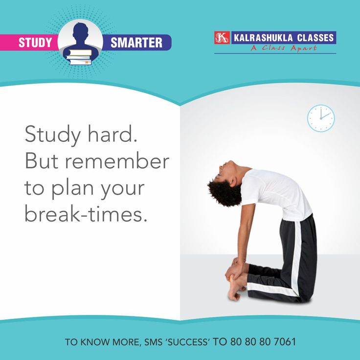 Break times are important to refresh your body and mind. Schedule these into your daily routine as well. #StudySmarter #StudySmarter #IITJEE #EngineeringEntrances #NEET #MedicalEntrances #StudyTimetable, #Mumbai, #Pune, #Kanpur