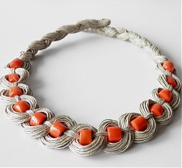 Linen Coral Necklace by KultomaniA on Etsy, $47.00