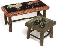 hooked rug bench pads | Rustic Hickory Benches by Chandler 4 Corners #RusticRugs