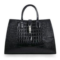 1aa92a3d07f Gucci Jackie Croco Leather Top Handle Bag 362970 Black
