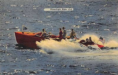 H1785    WOODEN SPEED BOAT in FLORIDA    LINEN    POSTCARD