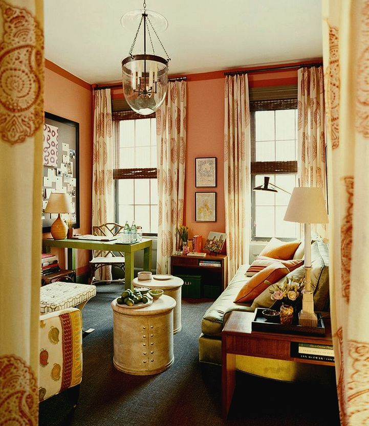 20 {Great} Shades of Orange Wall Paint {and Coral, Apricot, Kumquat...} - laurel home | fabulous home office and den by Steven Gambrel